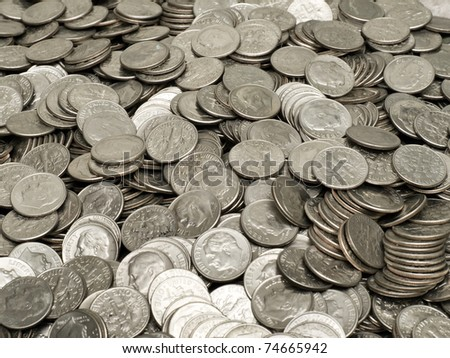 Pile of US Dimes - stock photo