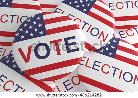 Pile Of US Election And Vote Badges, 3d illustration