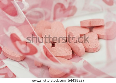 Pile of valentine love hearts - stock photo
