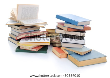 Pile of Various Books on White Background - stock photo
