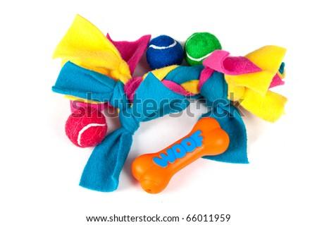Pile of various dog toys - stock photo