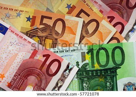 Pile of various Euro money bills - stock photo