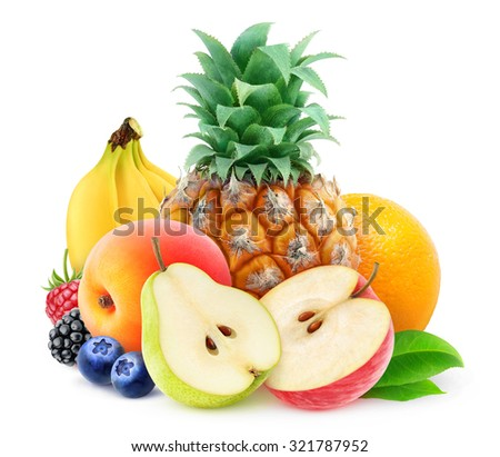 Pile of various fresh fruits over white background, with clipping path - stock photo