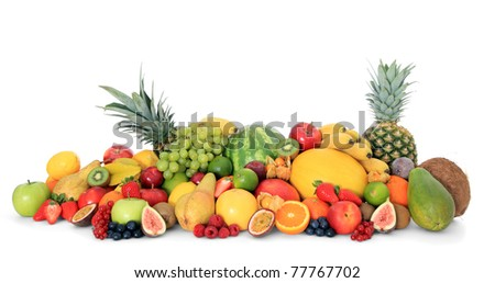 Pile of various fruits. All on white background. - stock photo