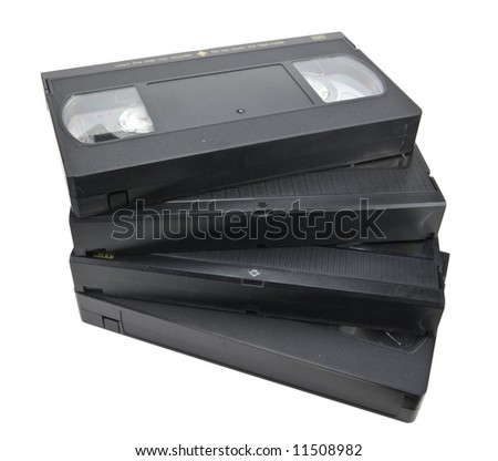Pile of vhs cassettes, isolated on white, clipping path included. - stock photo
