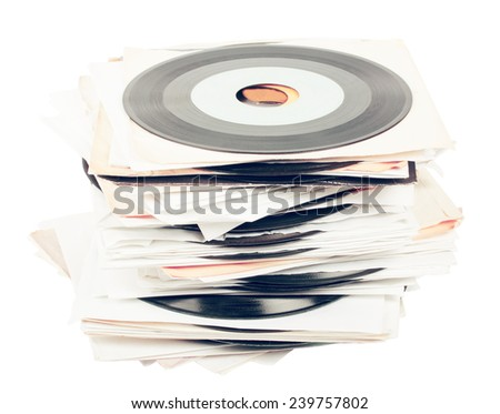 Pile of vintage vinyl isolated on white