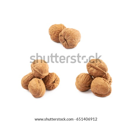 Pile of walnuts isolated over the white background, set of three different foreshortenings