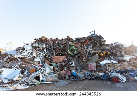 pile of waste for recycling or safe disposal - stock photo