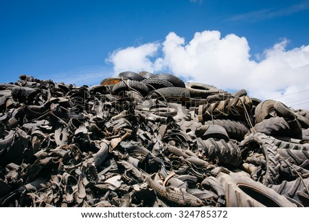 Pile of waste for recycling or safe disposal, Great for recycle and environmental themes. - stock photo