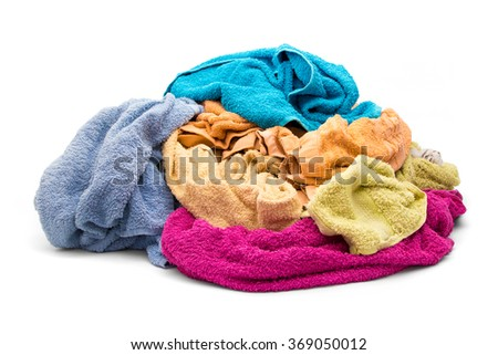 Pile of wet dirty clothes - towels - stock photo