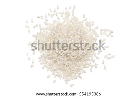 Pile of white glutinous rice isolated on white background. Top view.