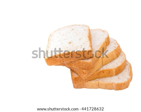 pile of whole grain bread slice isolated on white background. slices of soft whole wheat bread breakfast on every morning. - stock photo