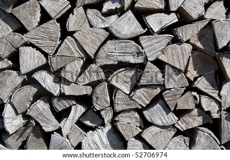 Pile of wood cut for fireplace - background from the firewood - stock photo