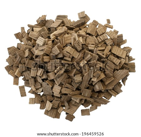 Pile of wood pellets, isolated on white background with clipping path - stock photo
