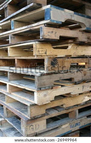 Pile of wooden pallets - stock photo