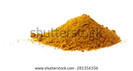 Pile of yellow curry powder isolated over the white background