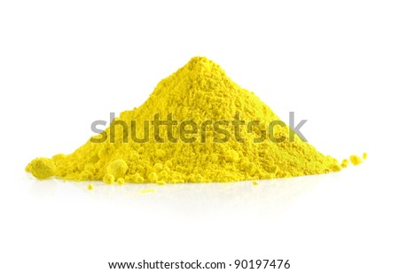 Pile of yellow powder isolated on white background - stock photo
