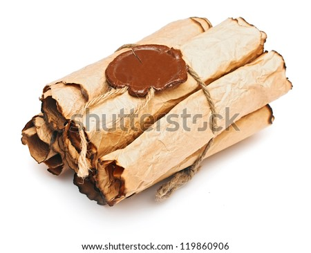 pile old paper scrolls with a wax seal on a white background - stock photo