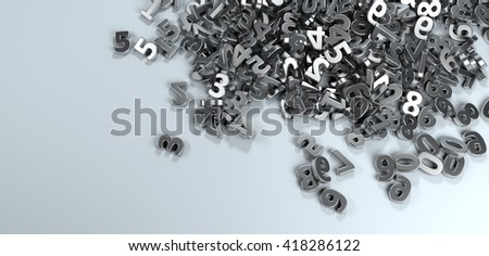 Pile or bunch of metal iron figures numbers isolated on white background. Concept image for education, maths, business or calculation. 3d Rendering. - stock photo