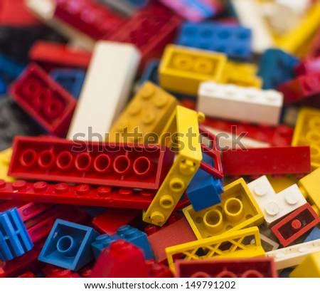 pile plastic toy blocks - stock photo