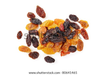 pile raisin on white background