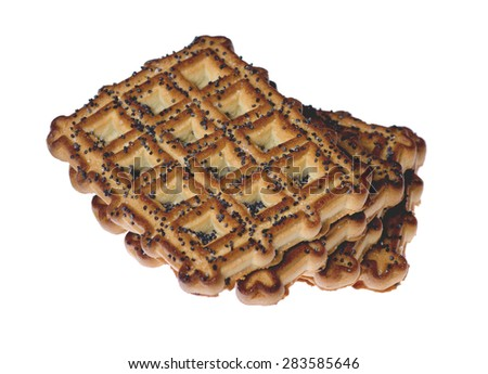 pile ruddy tasty cookies isolated on white background - stock photo