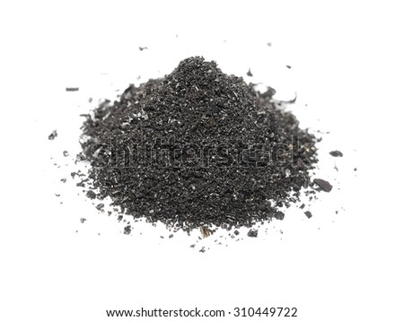 pile scrap metal shavings isolated on white background, with clipping path - stock photo