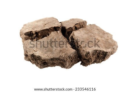 Pile soil isolated on white background - stock photo