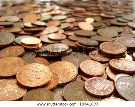 piled coins - stock photo