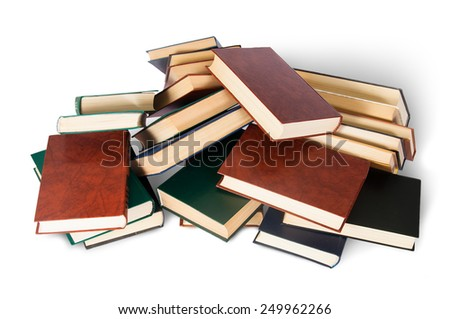 Piled on a bunch of old books top view isolated on white background - stock photo