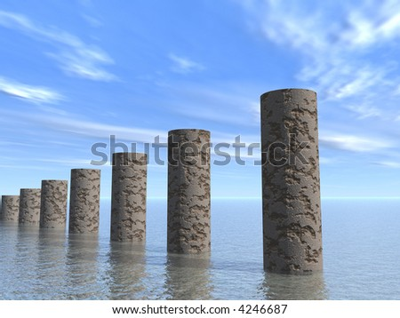 Piles from a stone located in the water, symbolizing growth, promotion - stock photo