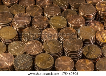 Piles of American Pennies. - stock photo