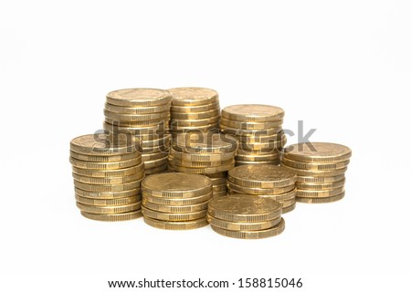Piles of Australian Dollar Coins - stock photo