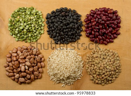 Piles of Beans and Grains - stock photo