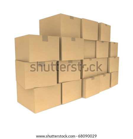 Piles of cardboard boxes - stock photo