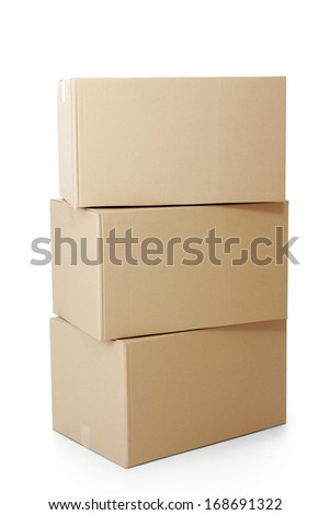 piles of cardboard boxes on a white background