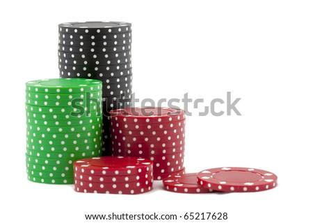 Piles of casino chips - stock photo