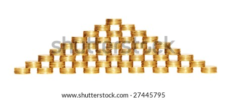 Piles of coins isolated on the white background.