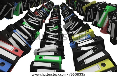 Piles of colored folders like high towers - stock photo