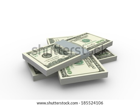 Piles of 3D American money isolated on white background
