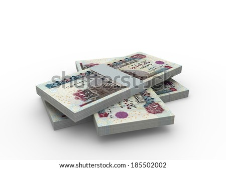 Piles of 3D egyptian money isolated on white background - stock photo