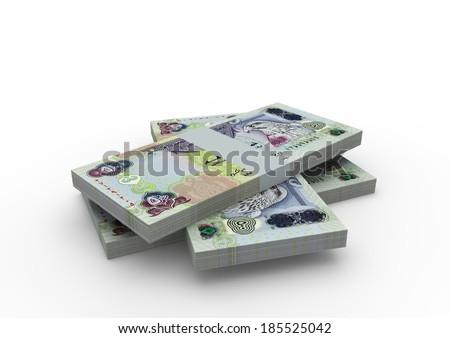 Piles of 3D emirati money isolated on white background - stock photo