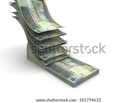 piles of 3D jordanian money falling and stacking in top of each other isolated on white background - stock photo