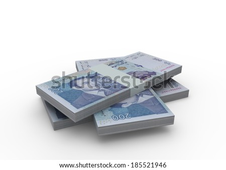 Piles of 3D Moroccan money isolated on white background - stock photo