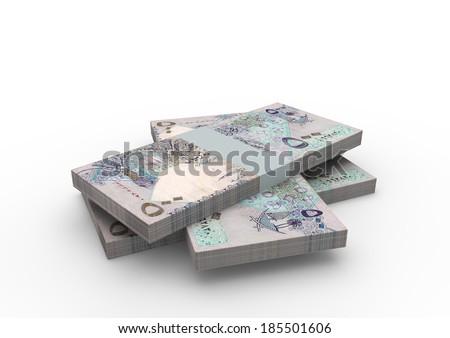Piles of 3D Qatari money isolated on white background - stock photo