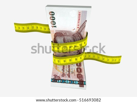 piles of 3D Rendered Thailand money with with yellow measure tape isolated on white background