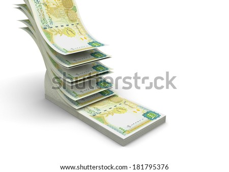 piles of 3D syrian money falling and stacking in top of each other isolated on white background - stock photo