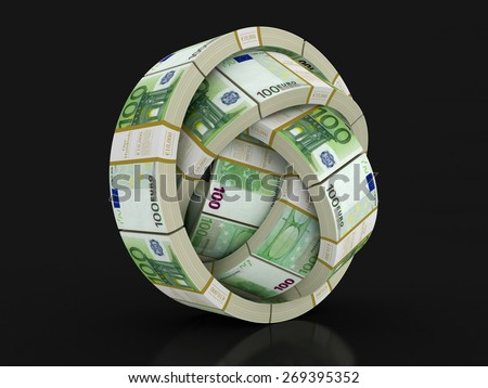 Piles of Euro (clipping path included)