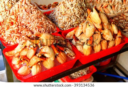 Piles of fresh crab claw meat,Ben Thanh market, Saigon (Ho Chi Minh City),  Vietnam - stock photo