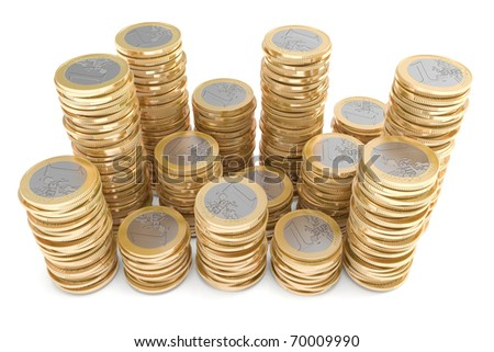 Piles of one Euro coins - stock photo
